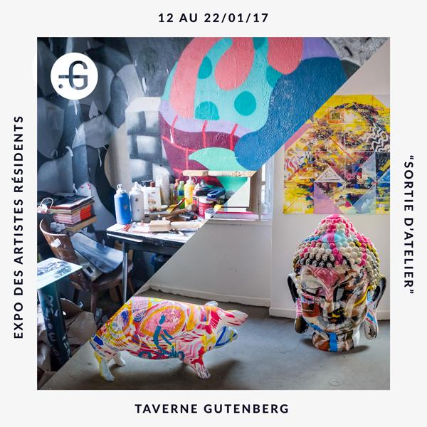 """Taverne Gutenberg, affiche de l'exposition """"Sortie d'atelier"""" du 12 au 22/01/17"""