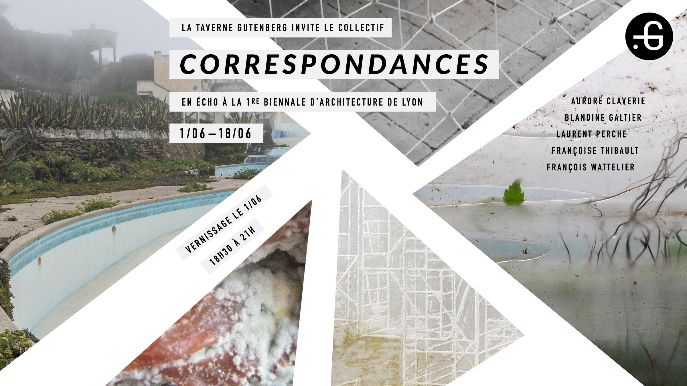 """Affiche de l'exposition """"Correspondances"""" à la Taverne Gutenberg"""