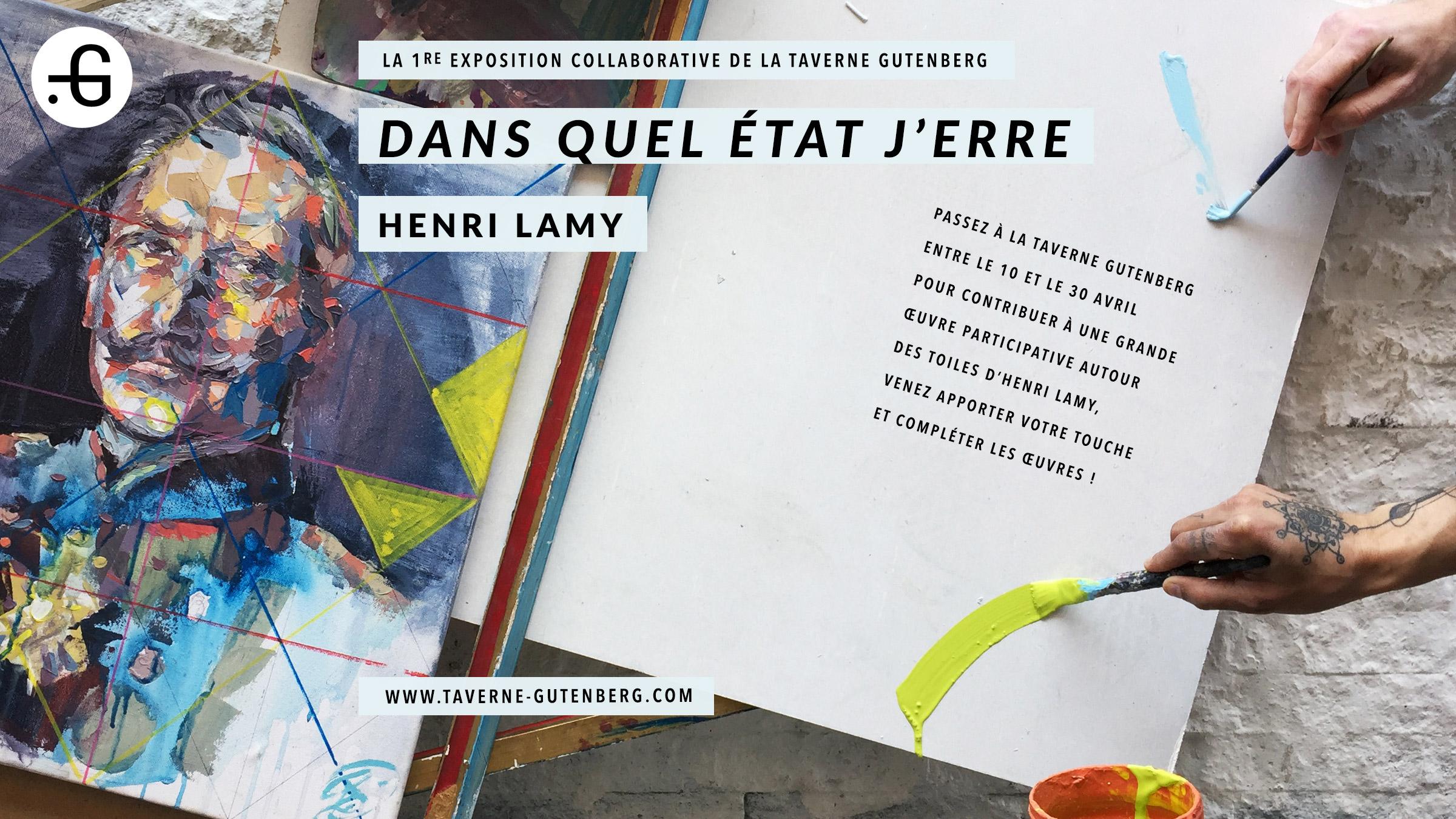 """Affiche """"Henri Lamy"""" exposition à la Taverne Gutenberg, 13/04/2017"""