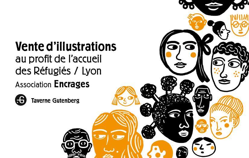 """Affiche """"Vente d'illustrations pour les réfugiés"""", Taverne Gutenberg, 07/02/2017"""