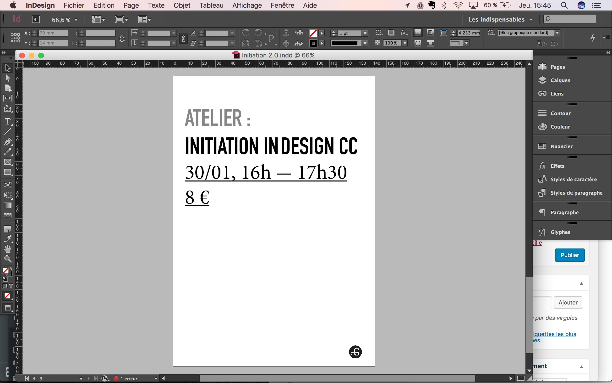 Affiche atelier / initiation au logiciel inDesign CC, Taverne Gutenberg, par Maïa d'Aboville