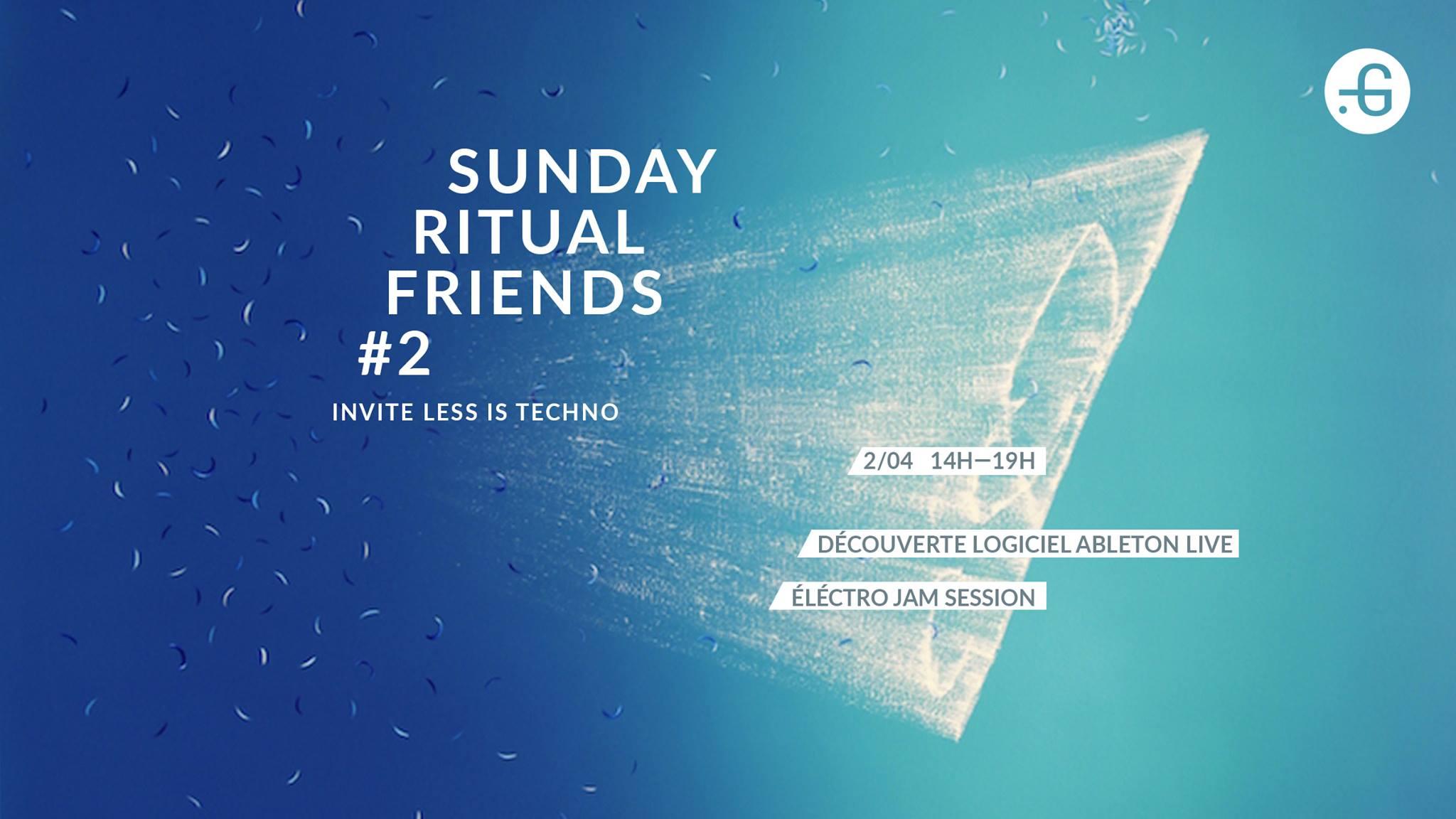 """Affiche """"Sunday Ritual Friends #2"""" à la Taverne Gutenberg le 2/04/17. Visuel : Young Mi-Choi"""