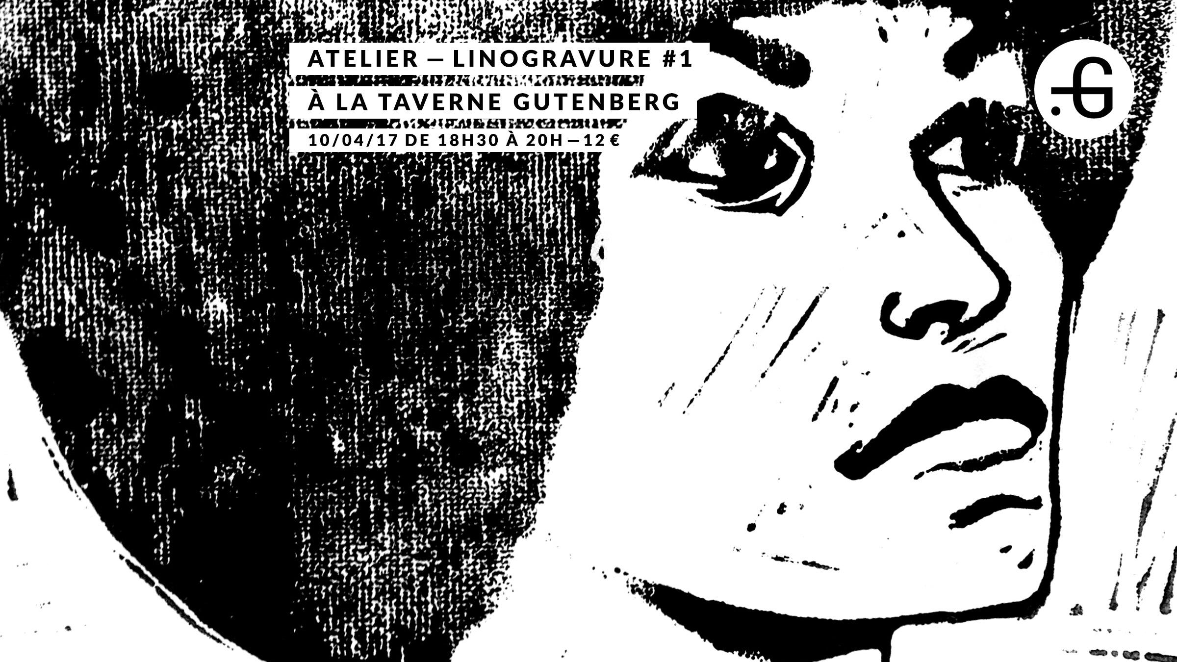 """Affiche """"Atelier de linogravure"""" à la Taverne Gutenberg"""