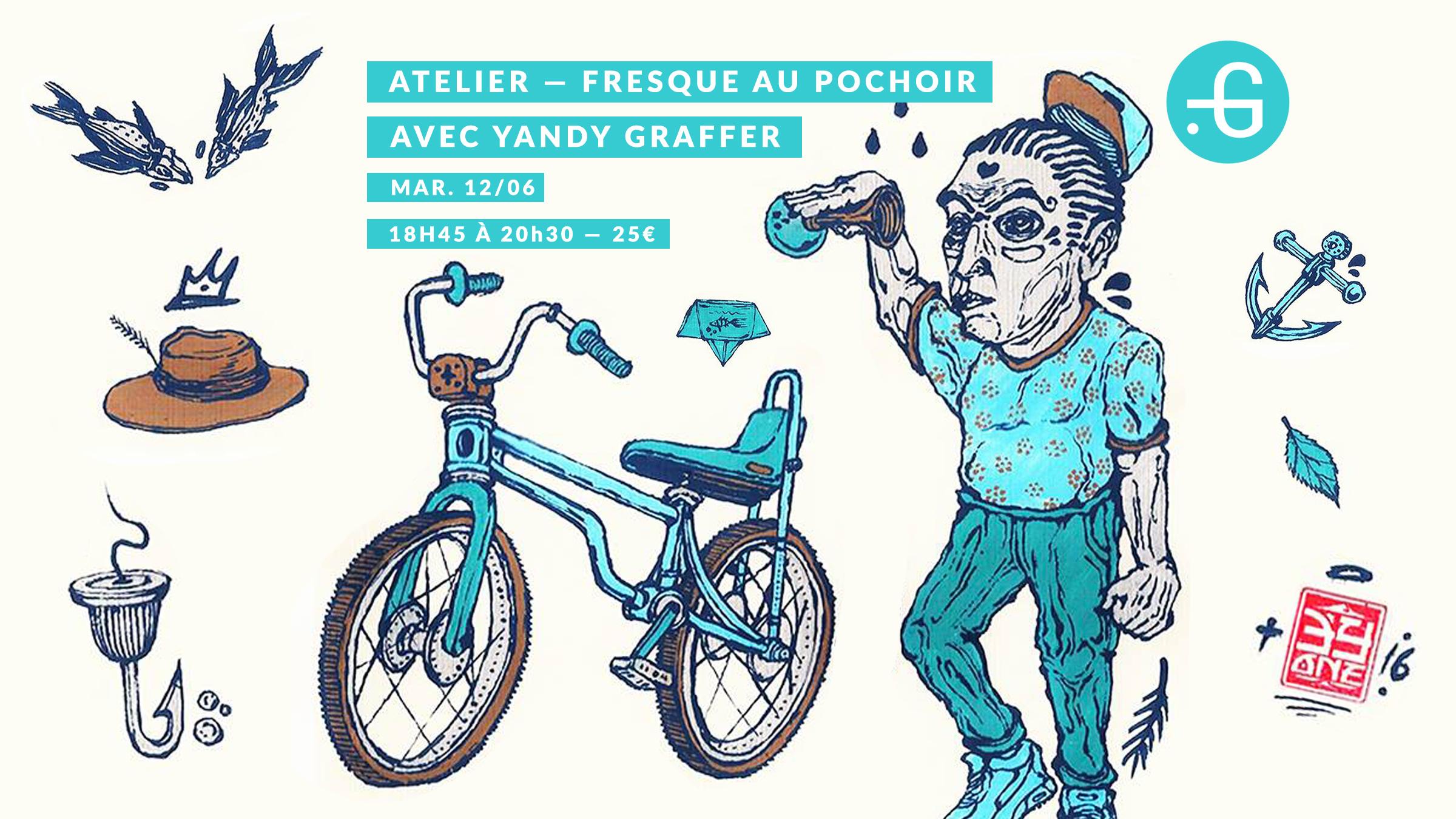 Atelier, Fresque au pochoir, Yandi Graffer, 12/06
