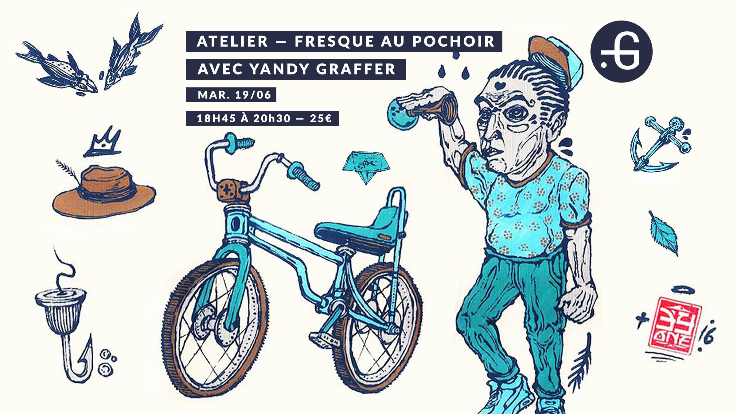 Atelier, fresque au pochoir, yandy graffer, 19/06
